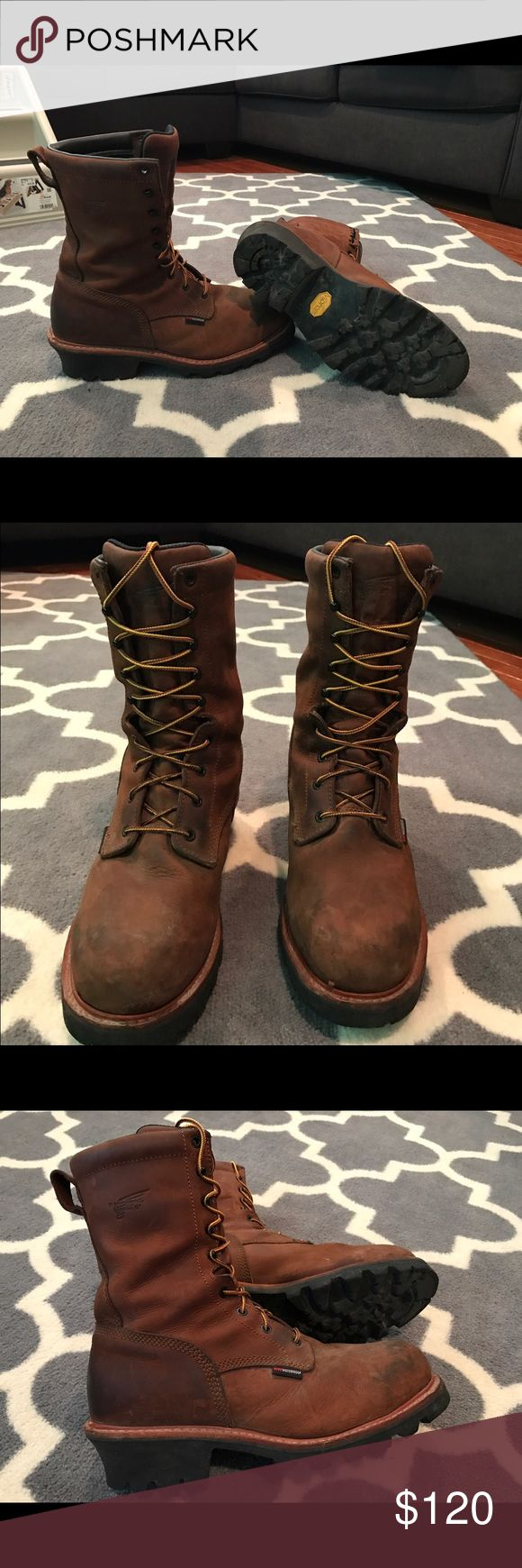 Red Wings logger boots Pair of Red Wing logger boots. 11.5, steel toe, waterproof, 8 inch. Good condition very clean barley broken in. Never worn on the job. Red Wing Shoes Shoes Boots