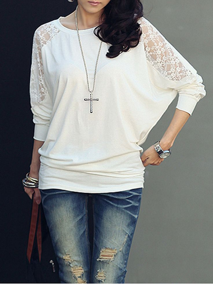 Batwing Long Sleeve Shoulder Lace Blouse