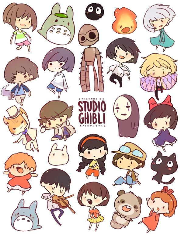 cute versions of studio ghibli characters.