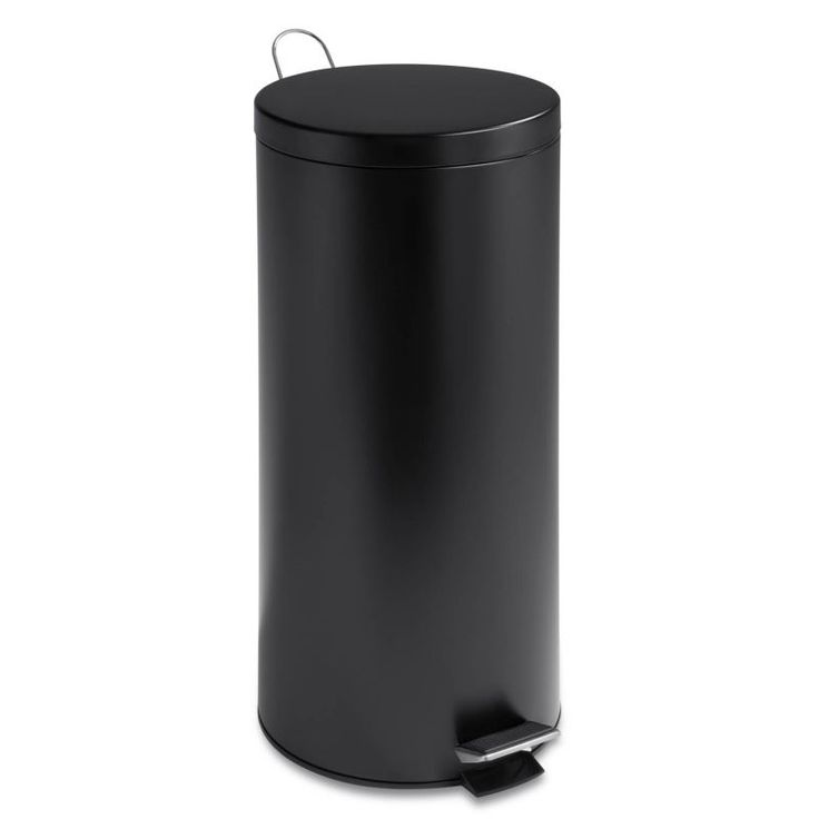Honey-Can-Do TRS-02111 30 Liter Round Stainless Steel Step Trash Can with Liner Black Trash Cans 1 Bin Free Standing