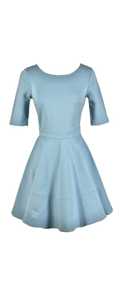 Perfect Fit and Flare Dress With Half Sleeves in Sky Blue  www.lilyboutique.com