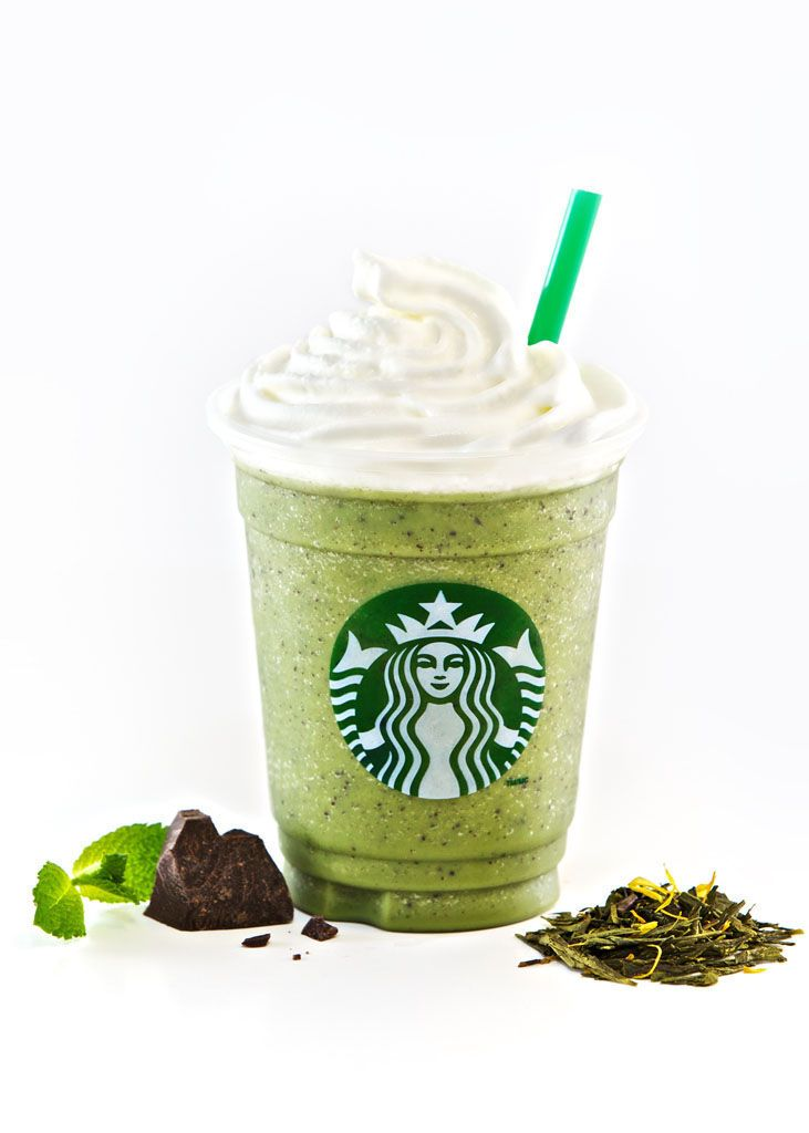 Peppermint Green Tea Frappuccino blended beverage with Java chips