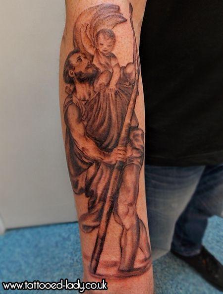 St Christopher tattoo on forearm. Tattoo by the Tattooed Lady #tattooedladym35 #tattoo #religioustattoo