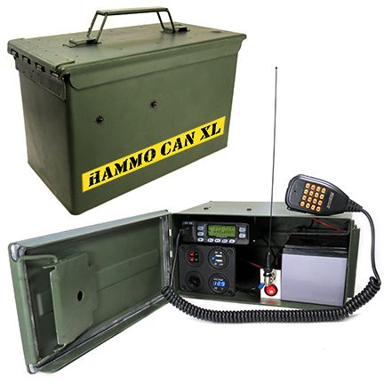 Complete VHF-UHF Ham Radio Station in a metal Ammo Can.