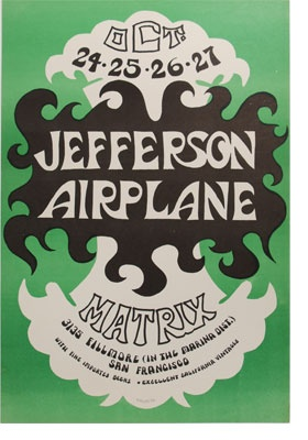 Classic rock concert psychedelic poster - Jefferson Airplane.