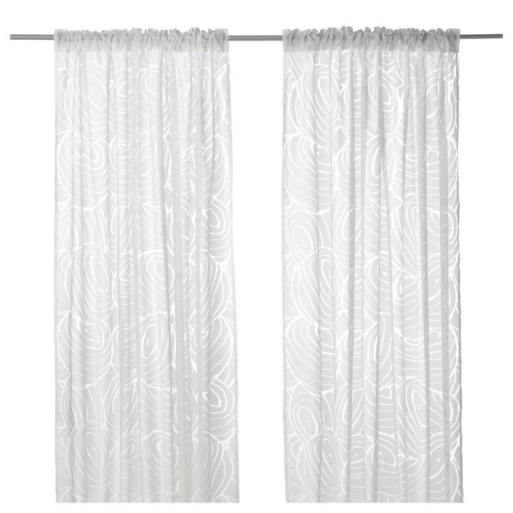 IKEA - NORDIS, Sheer curtains, 1 pair, , The sheer curtains let the daylight through but provide privacy so they are perfect to use in a layered window solution.The curtains can be used on a curtain rod or a curtain track.The heading tape makes it easy for you to create pleats using RIKTIG curtain hooks.You can hang the curtains on a curtain rod through the hidden tabs or with rings and hooks.