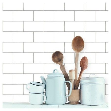 Devine Color Textured Subway Tile Peel & Stick Wallpaper - White : Target - perfect for my backsplash . . . maybe the whole kitchen!