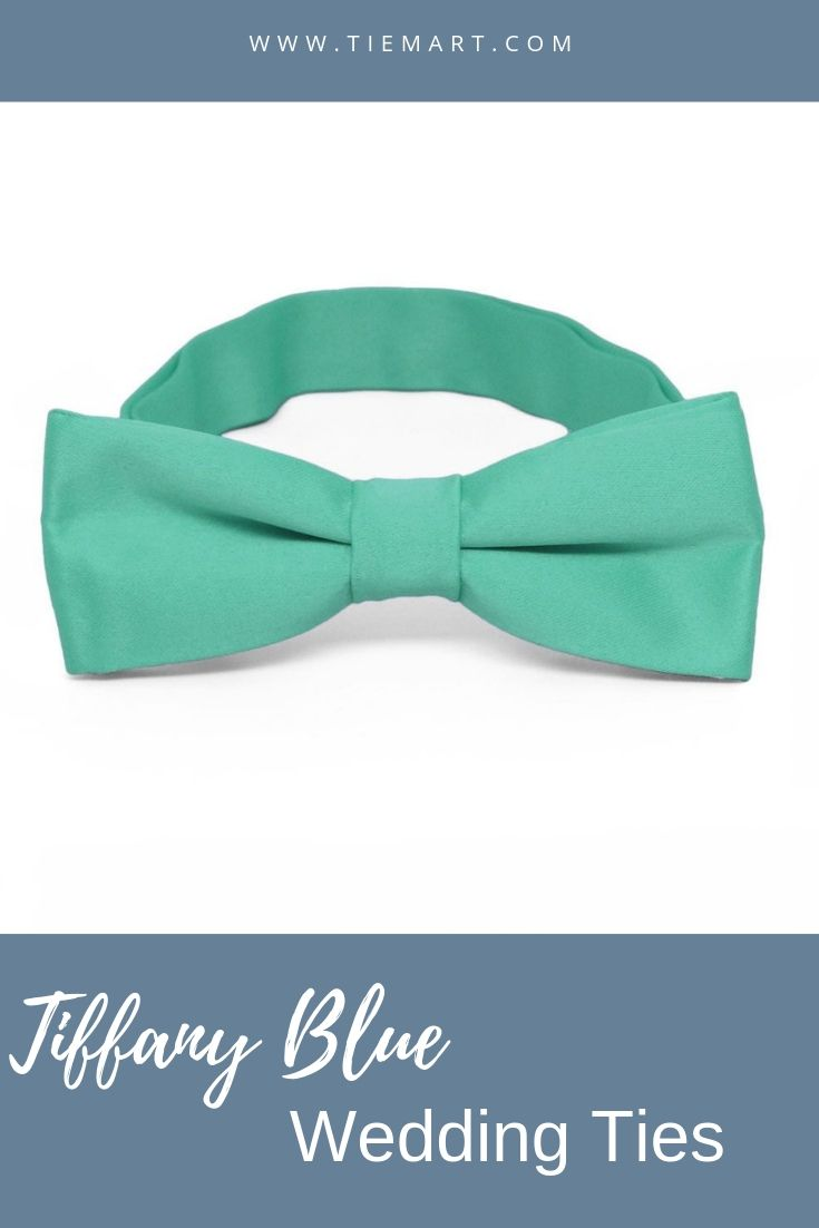 TieMart Turquoise and Navy Blue Striped Bow Tie