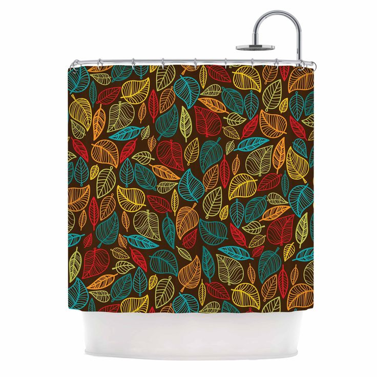 "Kess InHouse Kess Original ""Leaves All Around"" color Brown Shower Curtain"