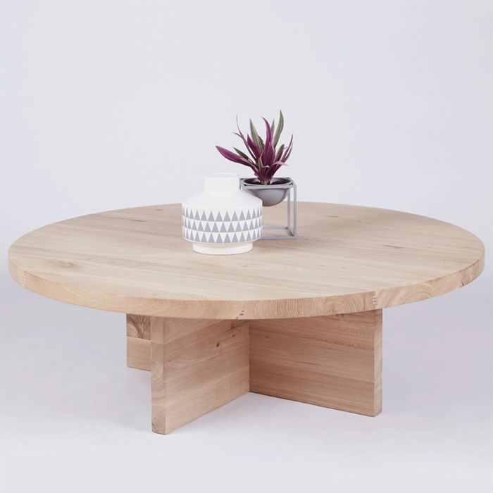 Modern Contemporary Round Oak Coffee Table Designer Accent