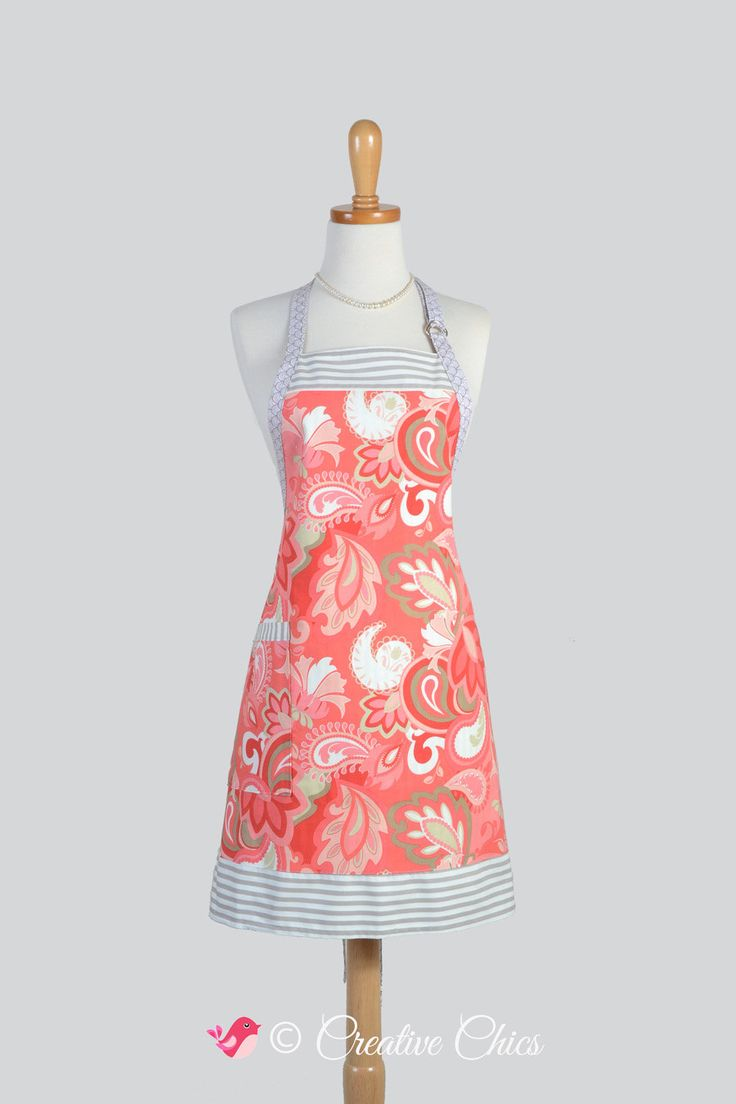 Womens Kitchen Cooking A C Paisley Print And Taupe Stripes Chef
