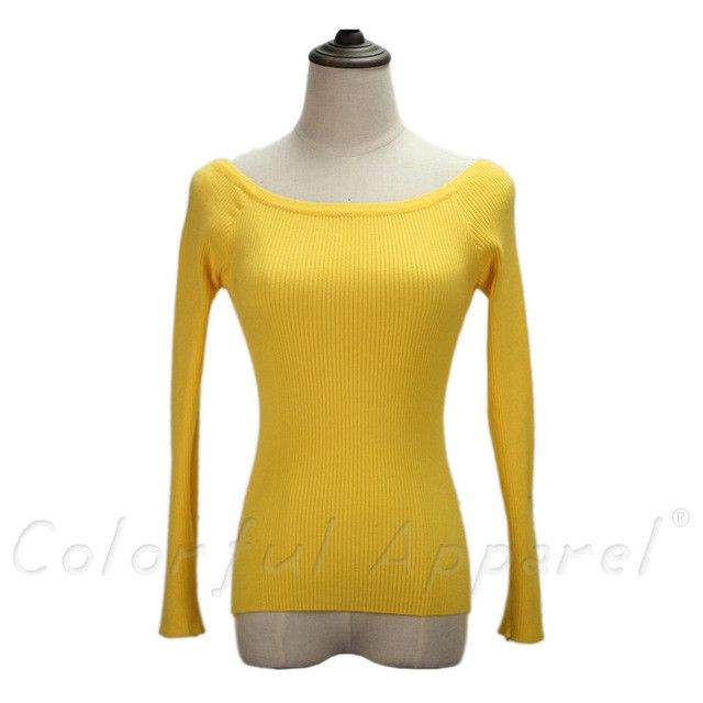 Colorful Apparel Autumn and Winter basic Women Sweater slit neckline Strapless Sweater thickening sweater
