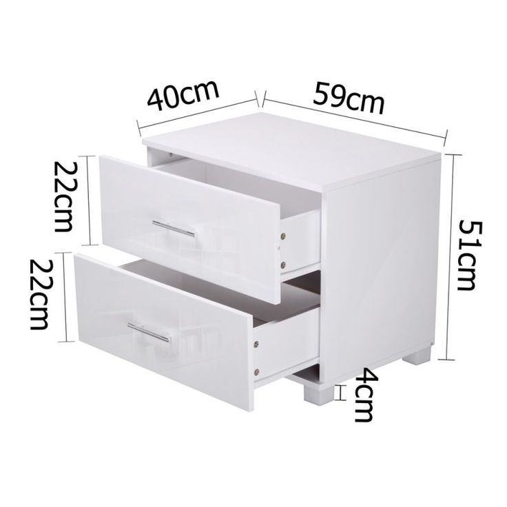 Bedside Table Unit with Drawers in High Gloss | Buy 30 - 50% Sale