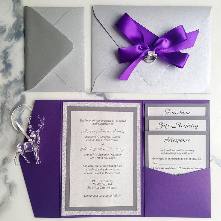 Purple Silver Wedding Invitations / Metallic Pocket Fold Invites / Purple  Invitations / RSVP Card / Insert Cards / Glitter Silver Invites