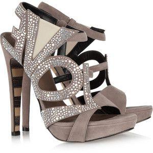 .: Crystalembellish Su, Fashion, Woman Shoes, Sandals, Heels, Beautiful Tips, Suede Sandals, Crystals Embellishments Su, Georgina Goodman