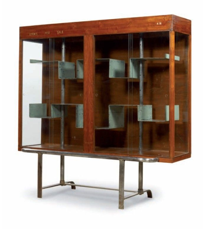 Bibliotheque vitrée by Pierre Jeanneret - Le Corbusier. Circa 1960. Furniture from the Chandigarh Project. The combination of the dark wood ...