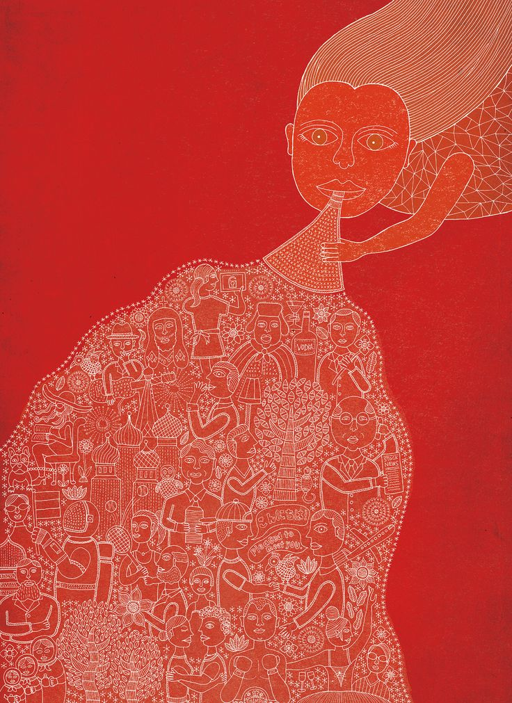 Woman in red blowing a horn