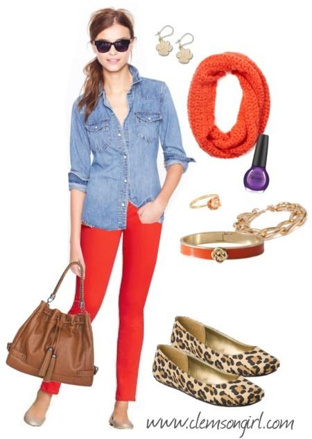 Clemson Girl Gameday Look - Denim Delight