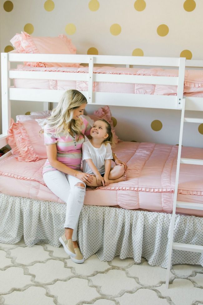 Love the use of blush zipper bedding on these bunks!  This little girl's room is perfectly shabby chic!