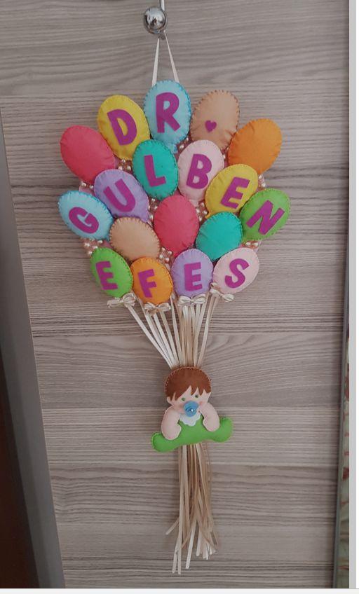 Keçe balonlu kapı süsü