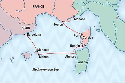 Mediterranean Isles Cruise, Sardinia to Corsica