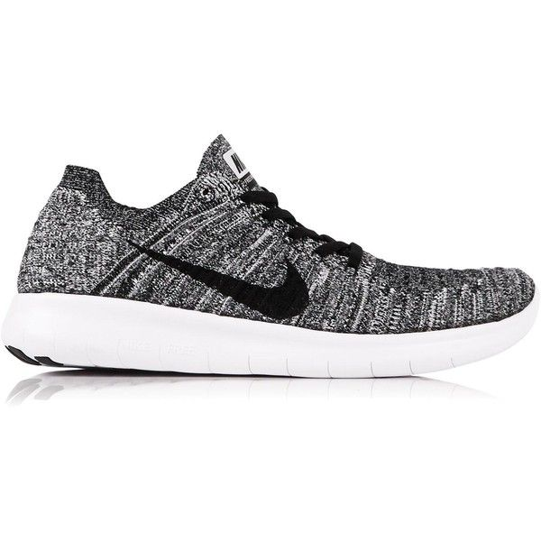 Nike Free Run Flyknit Running Shoes ($90) ❤ liked on Polyvore featuring shoes, athletic shoes, white, nike footwear, nike, laced up shoes, white shoes and running shoes