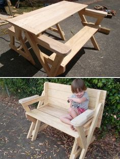 FREE WOODWORKING PROJECT PLANS - For all levels (first-timers to espert) This one shows how to make a convertible PICNIC TABLE/BENCH SEAT.