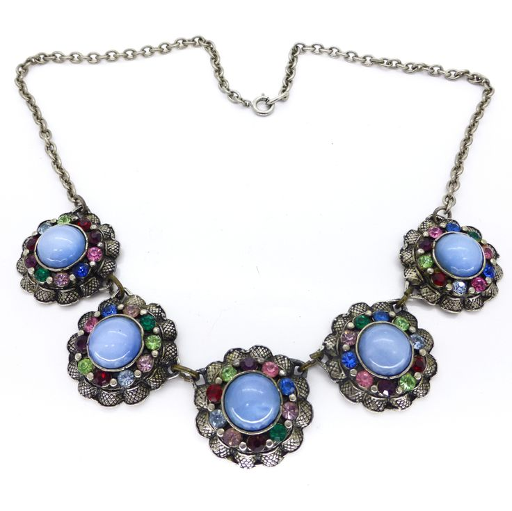 Vintage 1950s Floral Blue Cabochon Rainbow Past Glass Silver Metal Necklace | Clarice Jewellery | Vintage Costume Jewellery