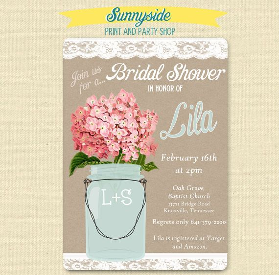 Kraft and Lace bridal shower invitation with pink hydrangeas or your ...