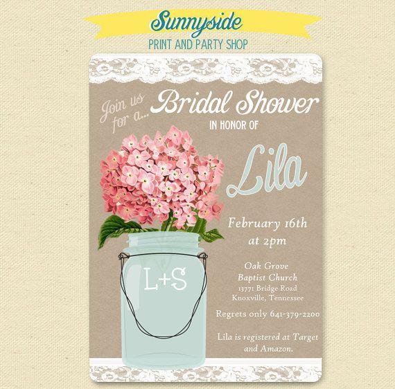 Pink Hydrangea  Lace Mason Jar Invitation  by sunnysideprintparty, $14.00