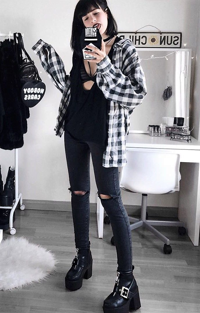 Oversized flannel shirt with v-neck oversized black top, black ripped pants & boots by deaddsouls
