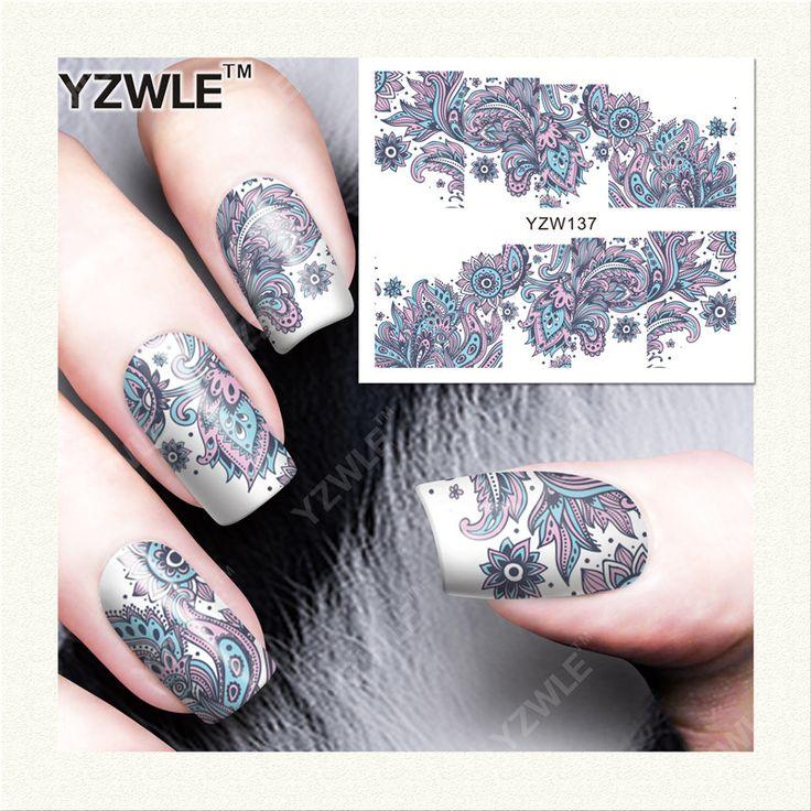 YZWLE 1 Hoja de Etiquetas de DIY Uñas de Arte de Transferencia de Agua de Impresión Pegatinas Accesorios Para Manicura Salon (YZW-137)