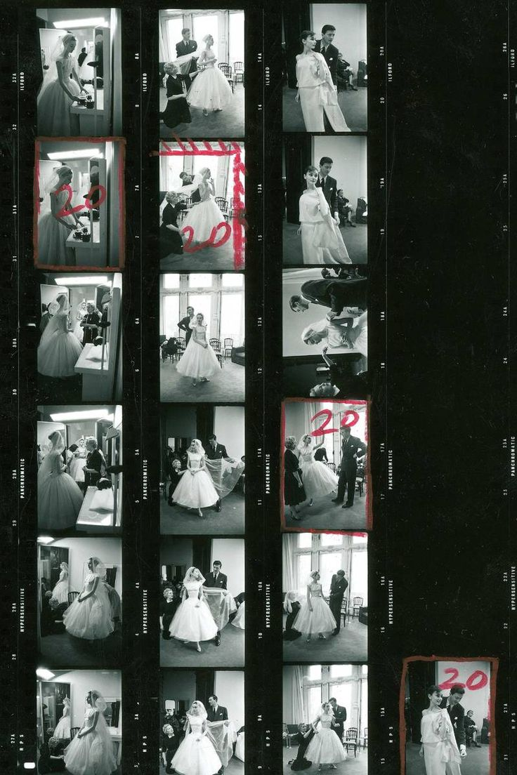 """Vintage Contact Sheet of Audrey Hepburn getting fitted for """"Funny Face"""" costumes.  Beautiful example of 50's wedding style! - via The Cut. Photographed by David Seymour in 1956"""