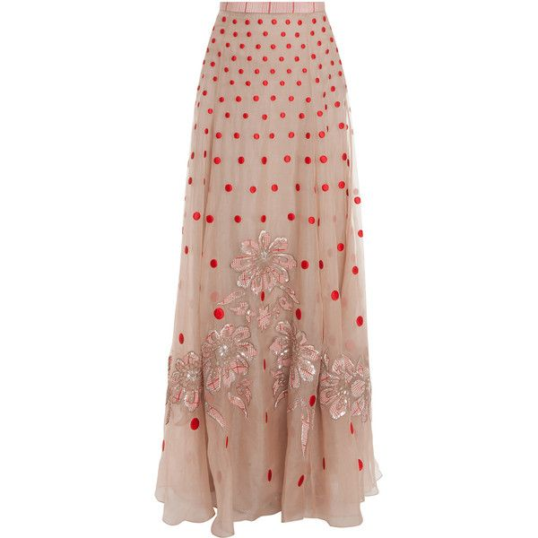 TEMPERLEY LONDON Long Josette Embroidered Skirt (€1.510) ❤ liked on Polyvore featuring skirts, maxi skirts, saias, bottoms, long floor length skirts, floral maxi skirt, long skirts, long maxi skirts and brown skirt