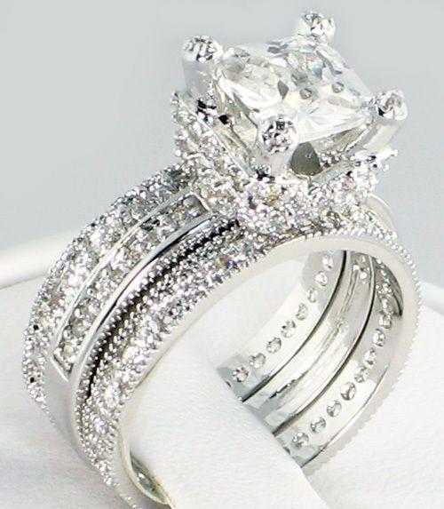 cz eternity band bridal wedding 3 pc ring set - Three Band Wedding Ring