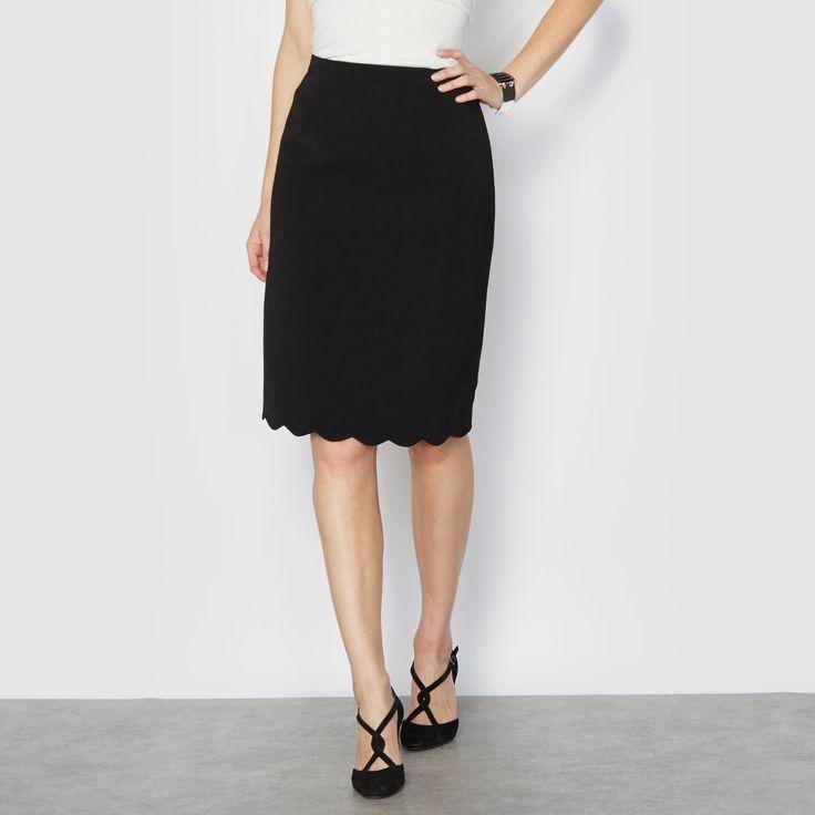 Falda recta de crepé, festoneada ANNE WEYBURN: precio, comentarios y…