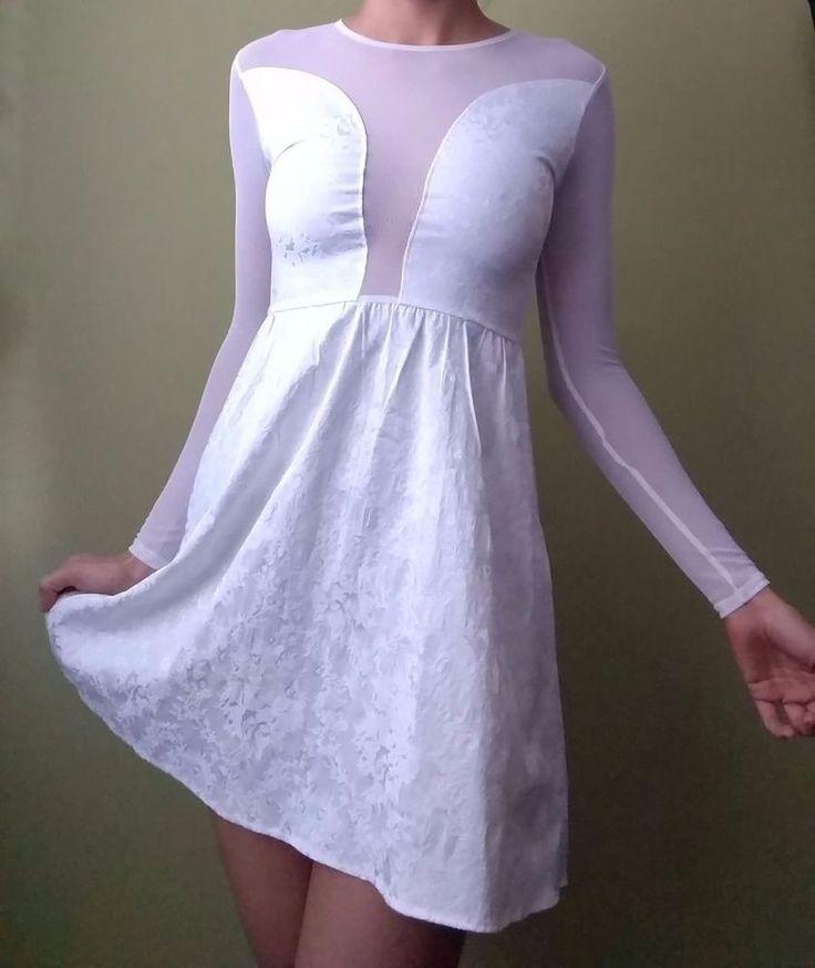 NWOT For Love & Lemons Casablanca Dress White Brocade Mesh Long Sleeves size XS #ForLoveLemons #CocktailClubwear