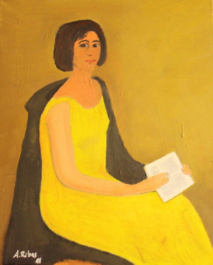 Oleo - Copia - Ejercicio de clase de pintura Dama de amarillo - 1929, de José Pinazo (1879 - 1933) - Terminada la copia en el último trimestre de 2017, con la inestimable ayuda de la profesora María José Bro. El cuadro original está pendiente de subastarse.