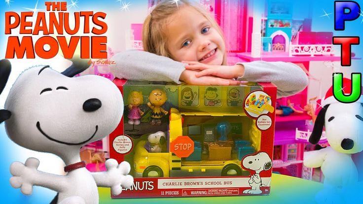 PEANUTS Charlie Brown's Schoolbus SNOOPY Movie TOY Wheels on the Bus Go Round and Round Song - YouTube