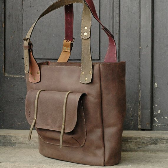 Brown leather Angela Bag handmade by Ladybuq by ladybuq on Etsy