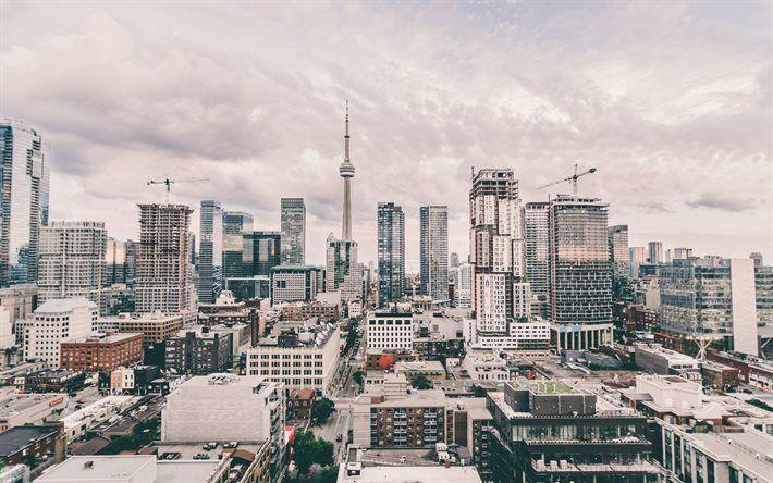 Toronto, skyscrapers, CN Tower, skyline, Canada
