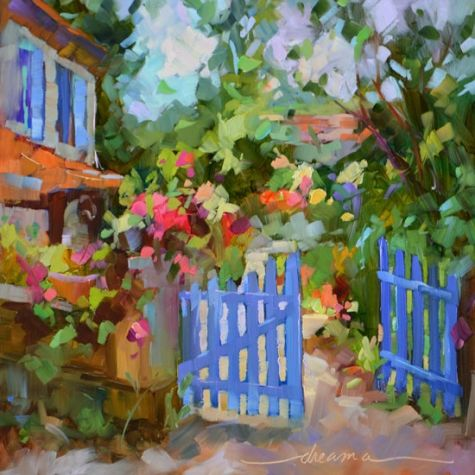 Blue Gate, French Invitation, painting by artist Dreama Tolle Perry