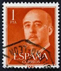 Franco en un sello de correos de una peseta.