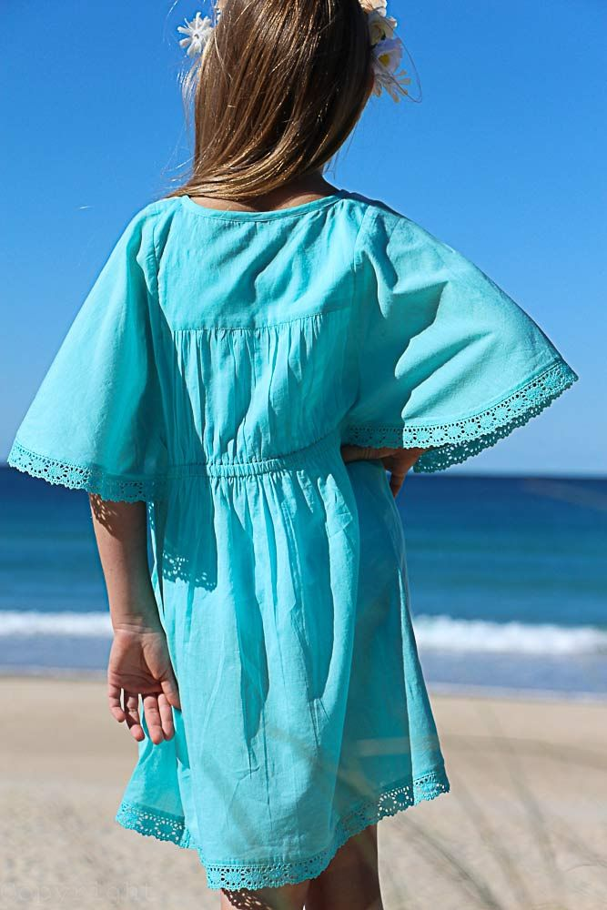 Back View of Summer Blue Caftan