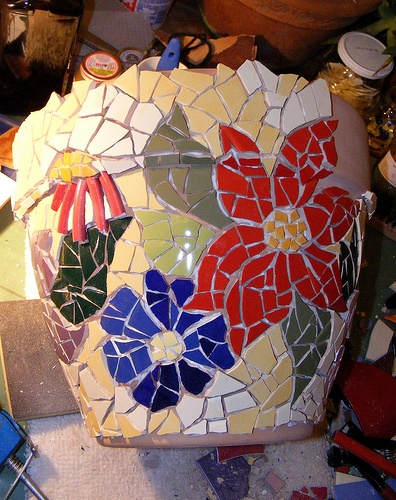 Big mosaic pot - WIP 1