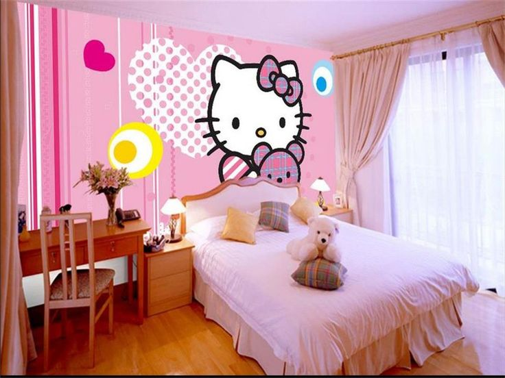 3d photo wallpaper custom mural kids room cartoon cat hello kitty HD painting sofa TV background non-woven wallpaper for wall 3d #Affiliate