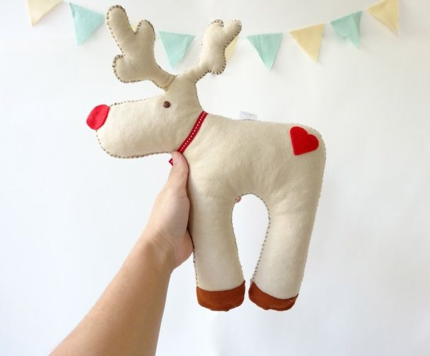 Soft Toys – Rudolph Stuffed Toy, personalized nursery decor – a unique product by lapetitemelina on DaWanda