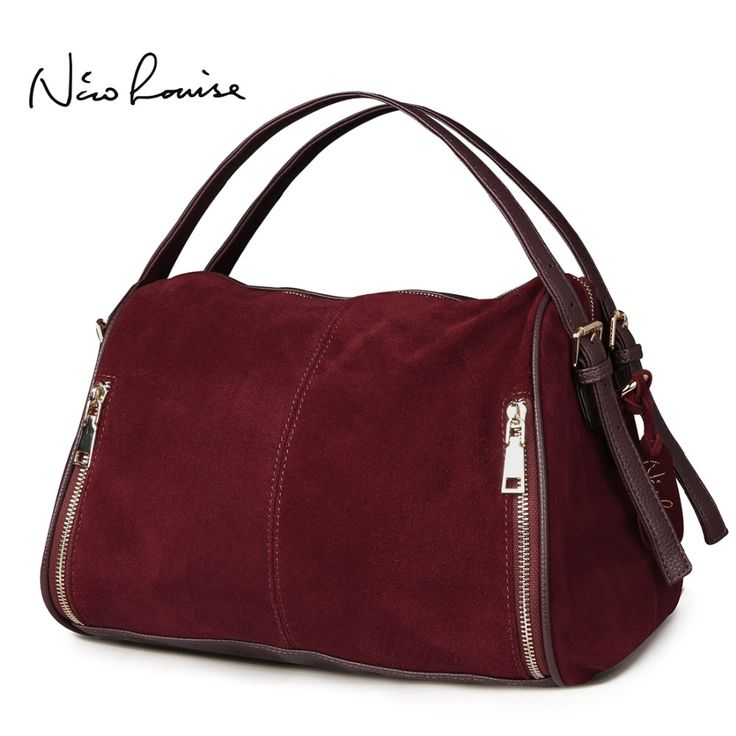 Nico Louise Women Real Split Suede Leather Boston BagOriginal Design Lady Shoulder Traveling Doctor Handbag Top-handle Bags Sac