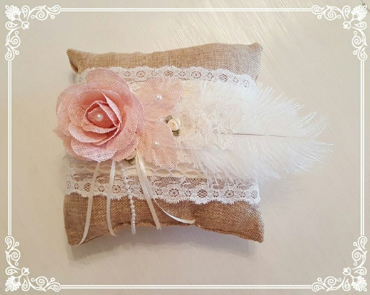 Wedding rings pillow with lace, feathers and pearls...