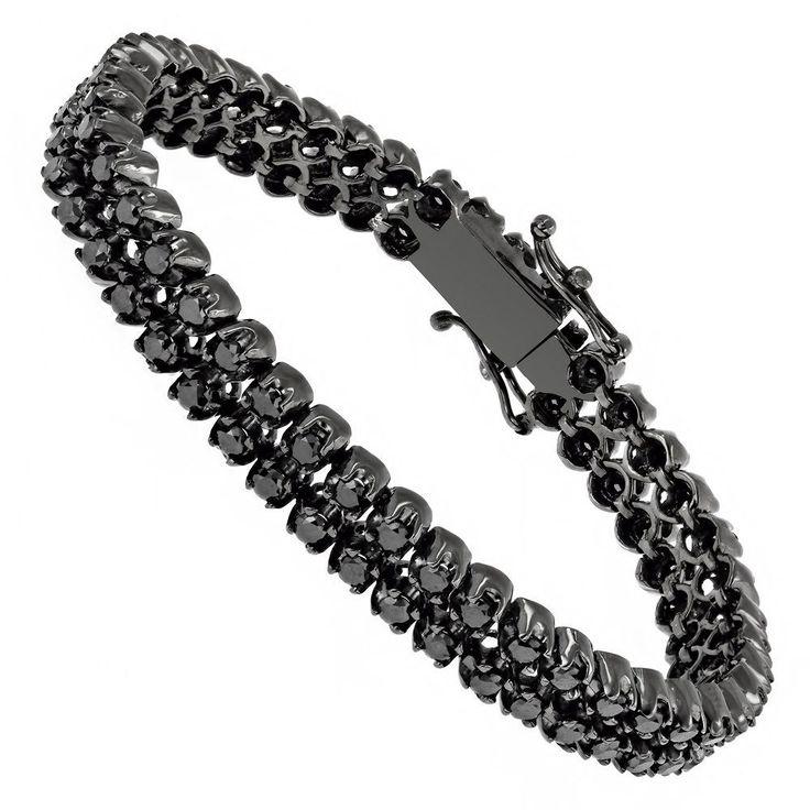 Luxurman Black Diamond Bracelets: 2 Row Mens Diamond Tennis Bracelet 7ctw